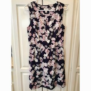 Navy and Pink Floral Sleeveless LOFT Dress Size M